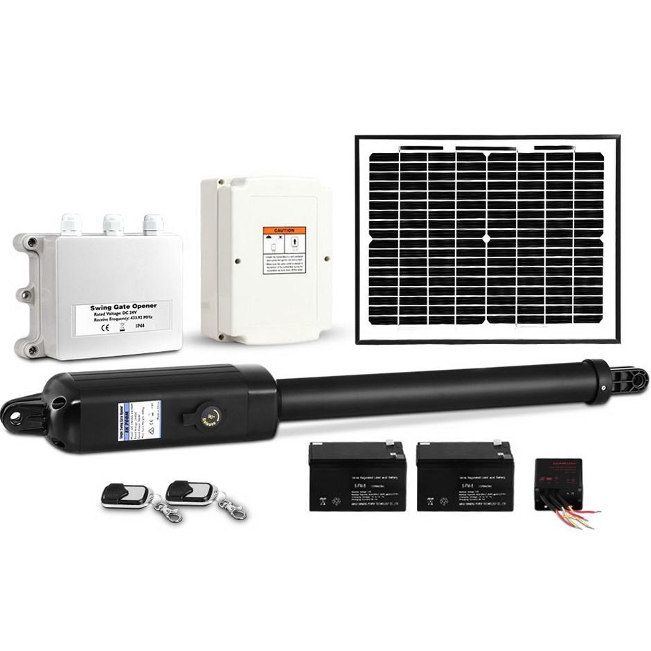 Giantz Auto Solar Powered Electric Swing Gate Opener Remote Control 600KG