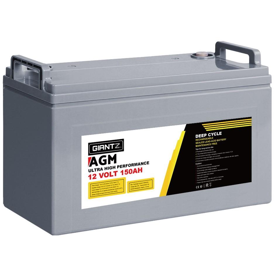 Giantz 150Ah Deep Cycle Battery 12V AGM Power Portable Box Solar Caravan
