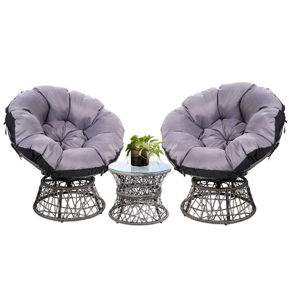 Garden Papasan Chair and Side Table Set- Grey