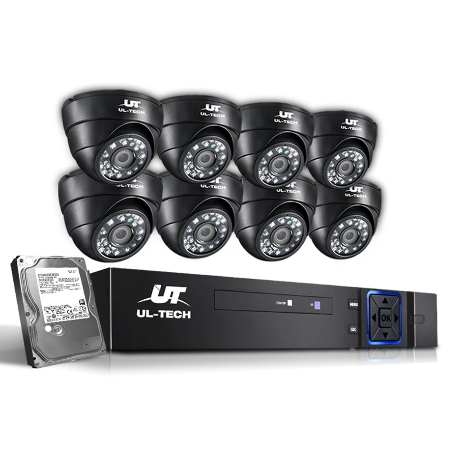 ULtech CCTV 8 Dome Home Security System 8CH DVR 1080P 1TB IP Day Night