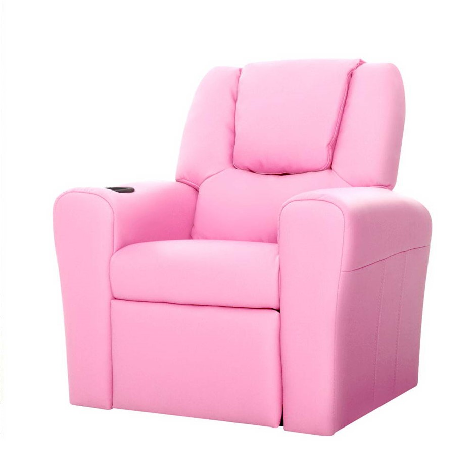 Keezi Luxury Kids Recliner Sofa Lounge Chair Couch PU Armchair PINK