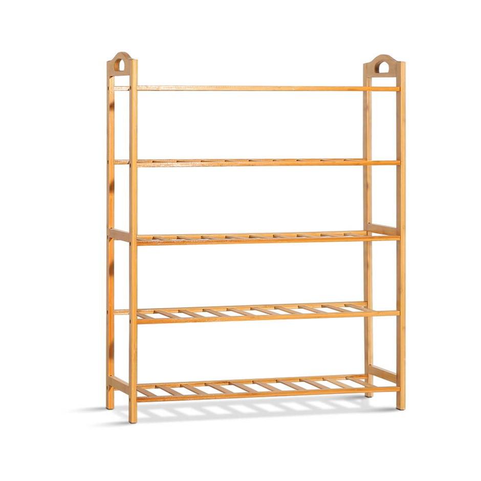Artiss 5-Tier Bamboo Shoe Rack Organiser Storage Cabinet Shelves