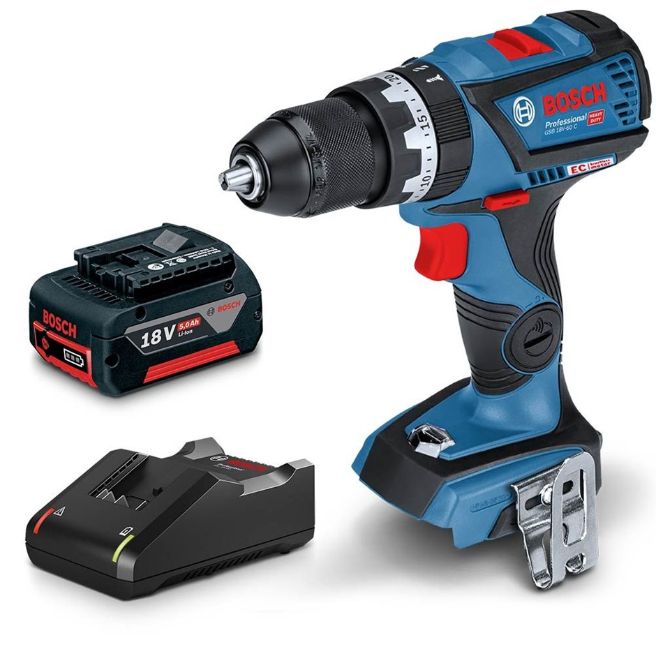 BOSCH 18V Brushless Hammer Drill Kit c/w 5.0Ah Battery Charger. Buyers Note
