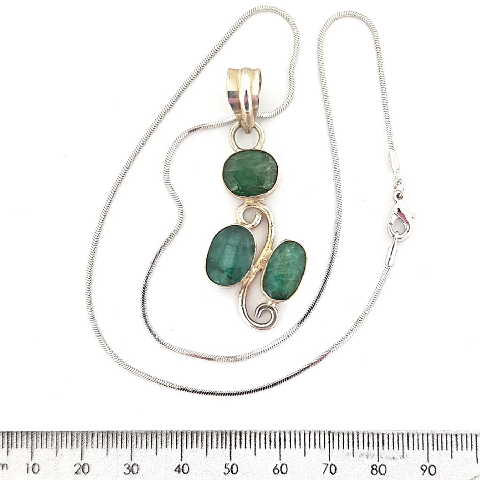 One Sterling Silver Green Stone Pendant.