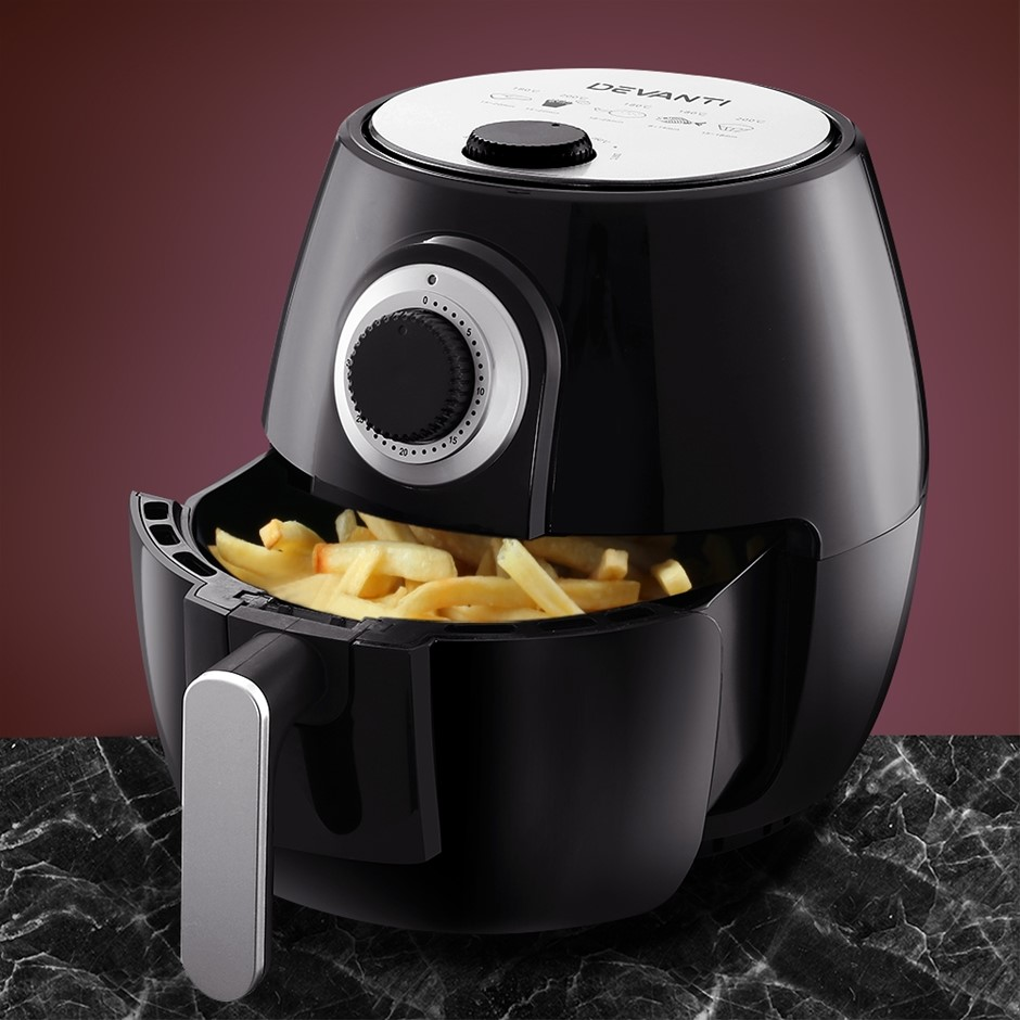 Devanti Air Fryer 4L Oil Free Oven Airfryer Kitchen Healthy Cooker Black