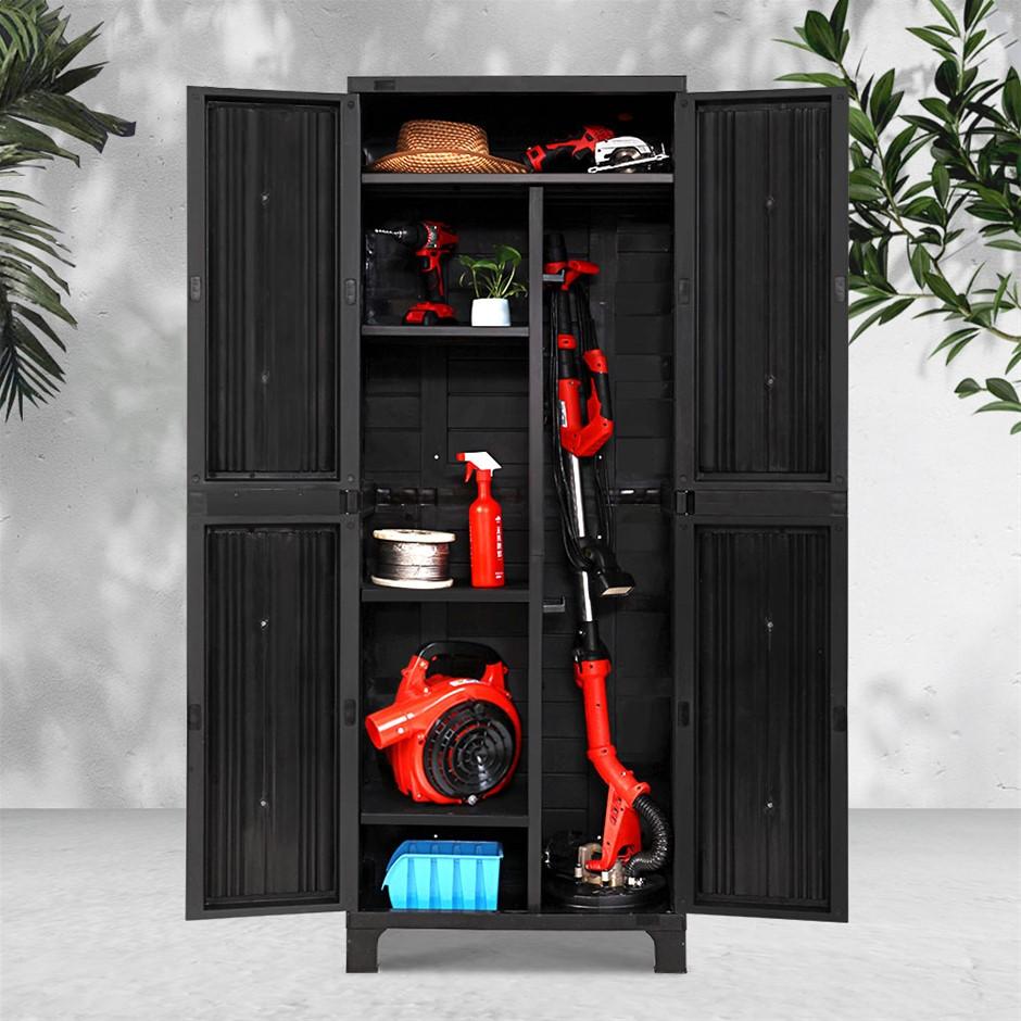 Gardeon Outdoor Storage Cabinet Lockable Tall Garage Adjustable Black 173CM
