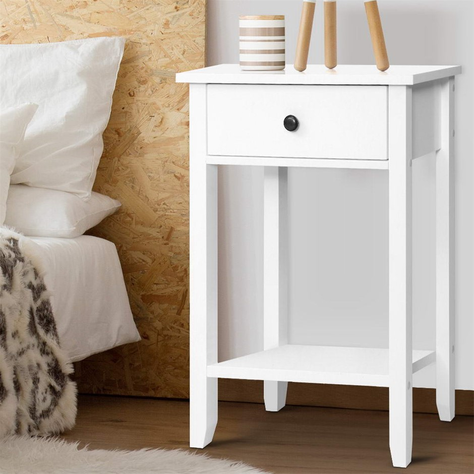 Bedside Tables Drawer Side Table Nightstand White Storage Cabinet Shelf