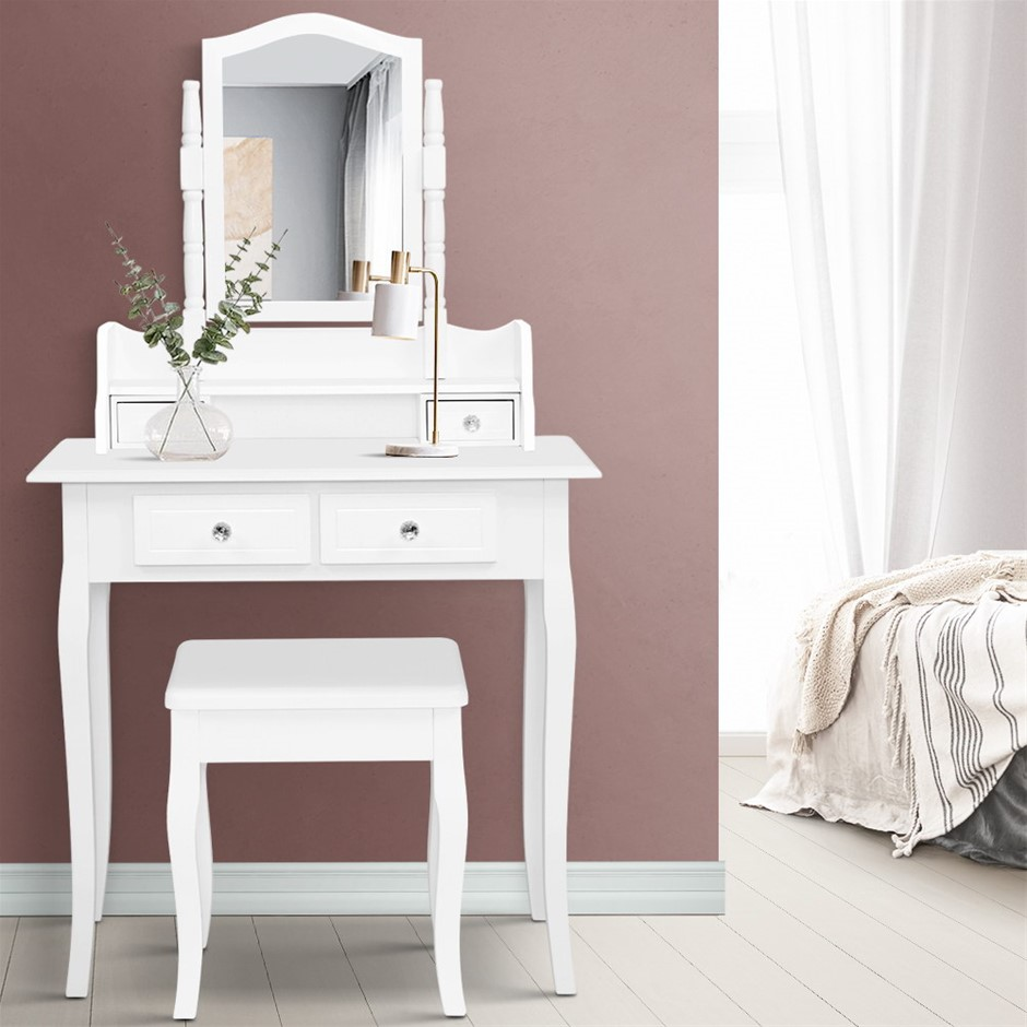 Dressing Table Stool Mirror Jewellery Cabinet White Tables Drawers Box