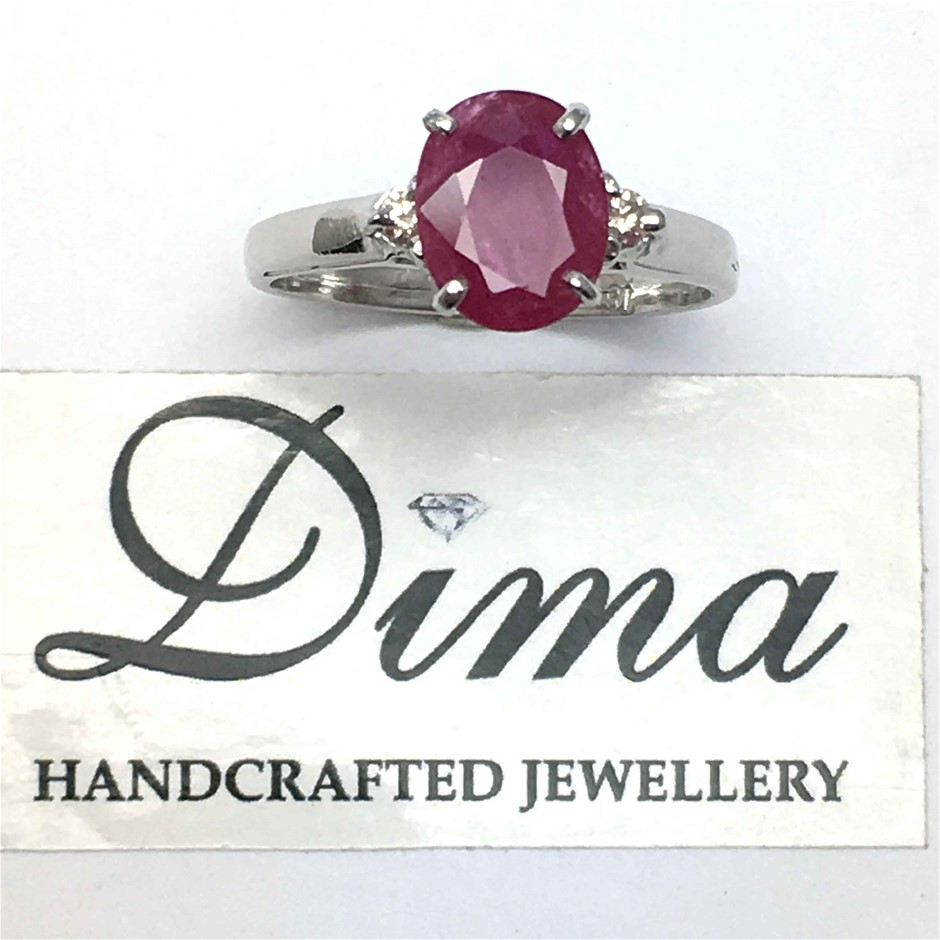 18ct White Gold, 2.40ct Ruby Ring