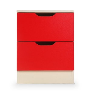 Sarantino Bedside Table - Red & White