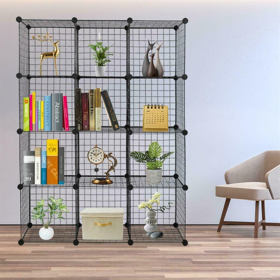 12 Cube Wire Grid Organiser Bookcase Storage Cabinet Wardrobe Closet Black