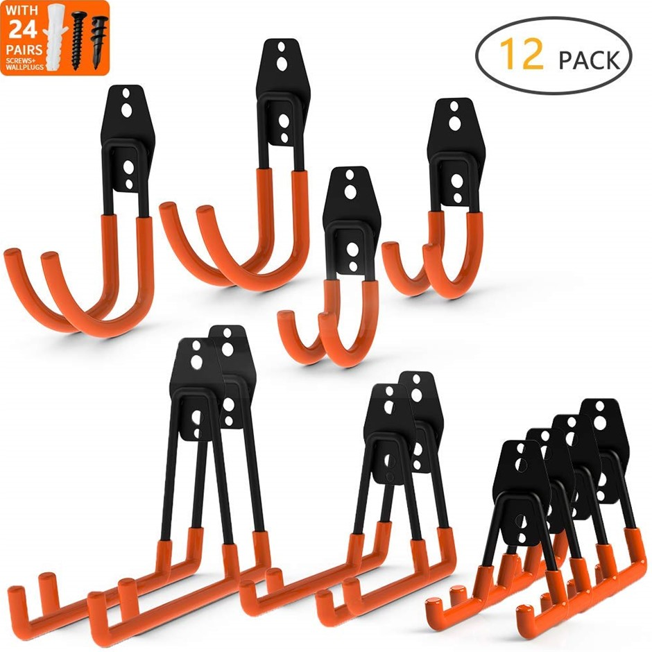 12-Pack Wall Mount Garage Hooks Tool Storage Organiser Heavy Duty Steel