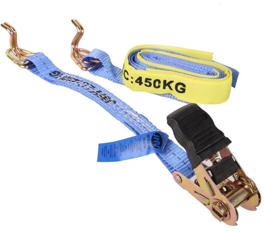 4 x Ratchet Tie Down Assemblies 25mm x 4m c/w Hook & Keeper L/C 450Kg. (SN: