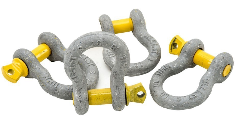 12 x Bow Shackles, WLL 1.5T, Screw Pin Type, Grade S, Yellow Pin. (SN:BS-1.