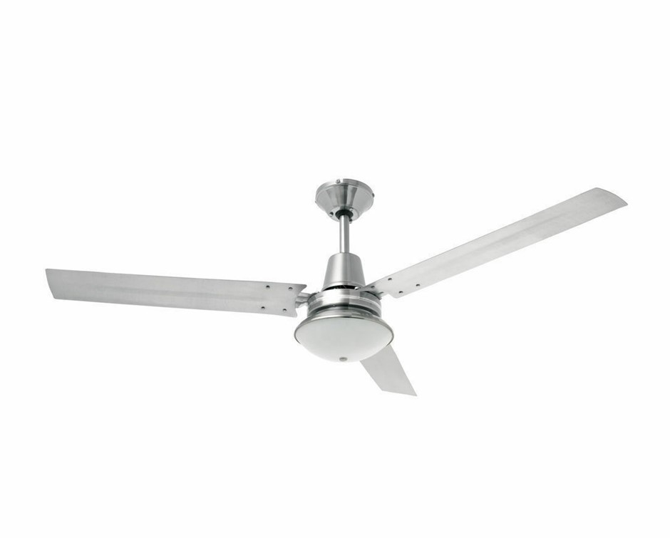 Heller 1200mm 3 Blade Brushed Stainless Ceiling Fan & Oyster Light TRINITY