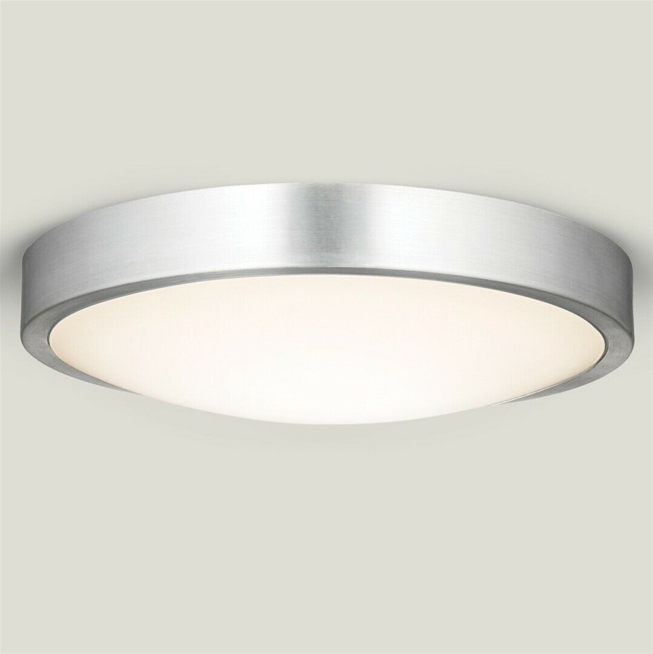 Qty 2 x HPM Aura 18W LED Dimmable Ceiling Oyster Light 3000K, Silver finish