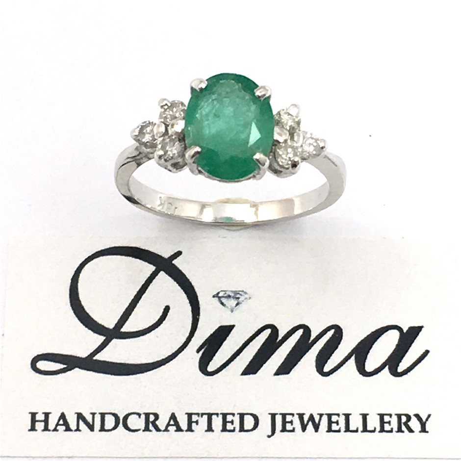 18ct White Gold, 1.78ct Emerald and Diamond Ring
