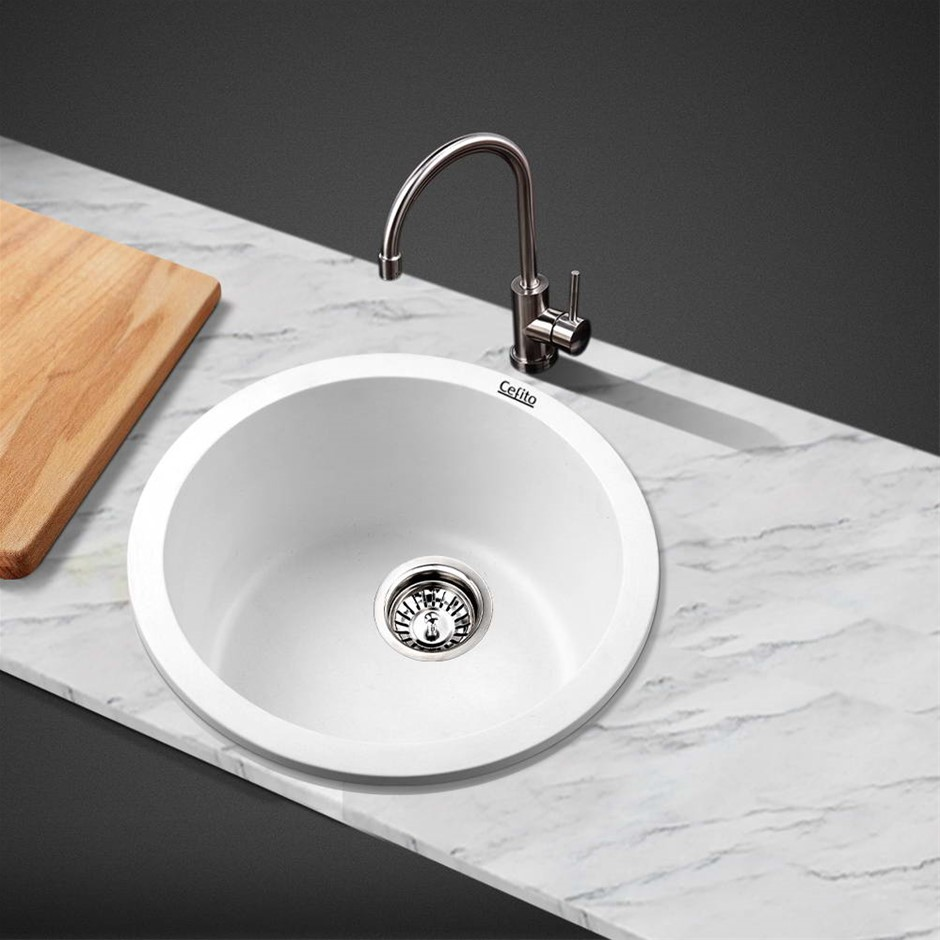 Cefito Kitchen Sink Granite Stone Laundry Top/Undermount Double 440x190mm