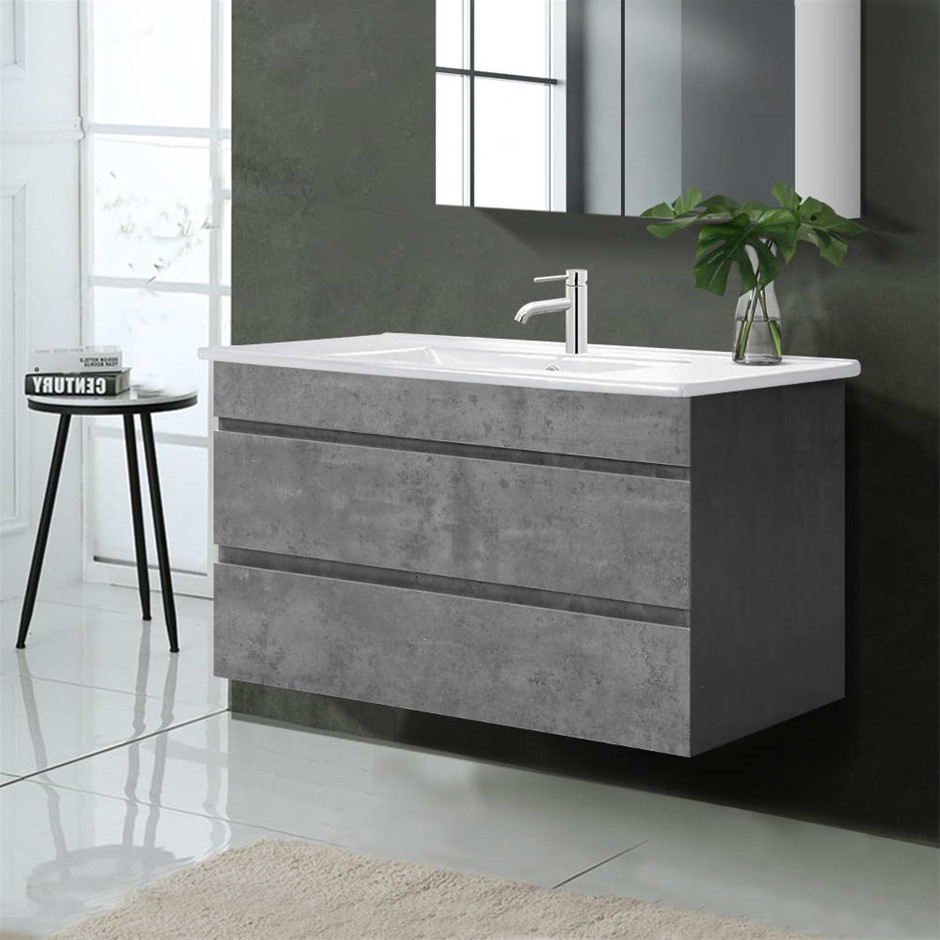Cefito 900mm Bathroom Vanity Cabinet Basin Unit Sink Wall Mounted Cement
