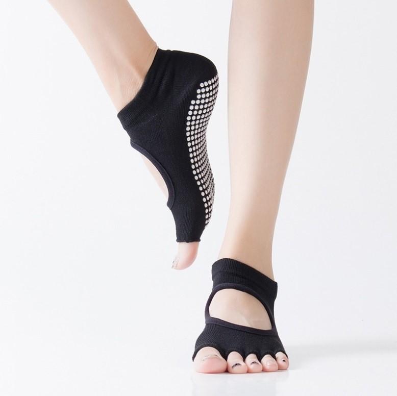 Yoga Running Toeless Socks For Women - Black Osfa