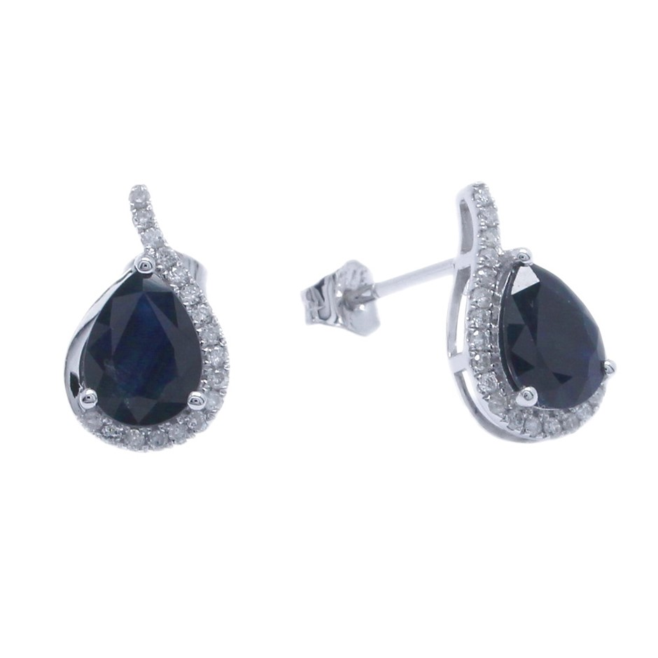 9ct White Gold, 2.97ct Blue Sapphire and Diamond Earring