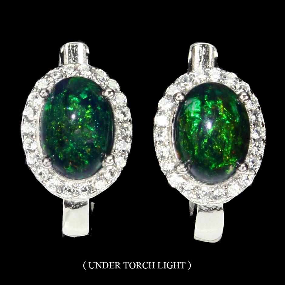 Striking Genuine Australian Rainbow Black Opal Huggie Earrings