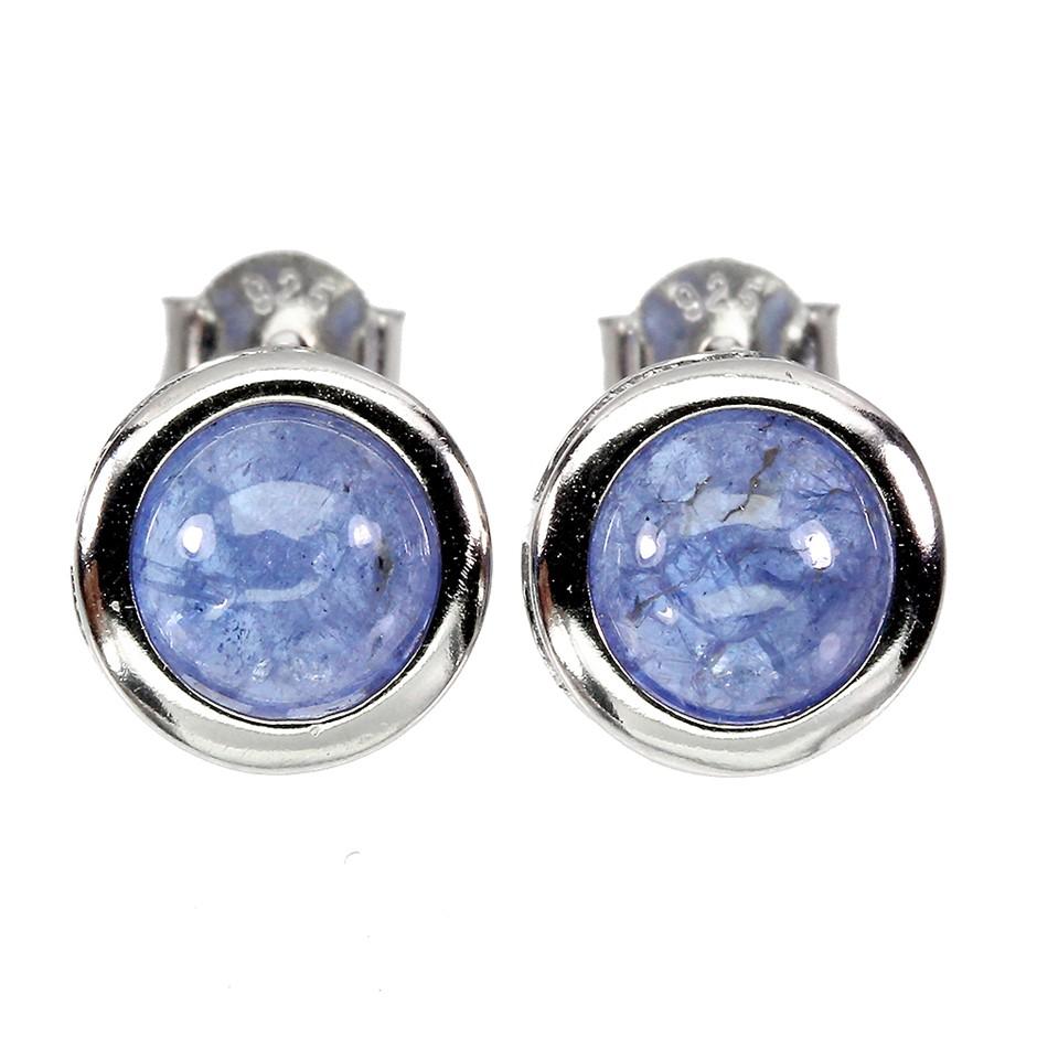 Striking Genuine Tanzanite Stud Earrings.