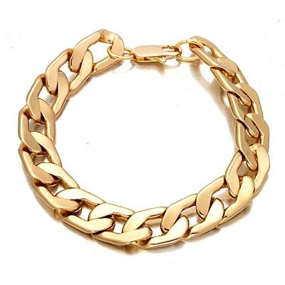 Mens huge gold plated cuban bracelet 14mm