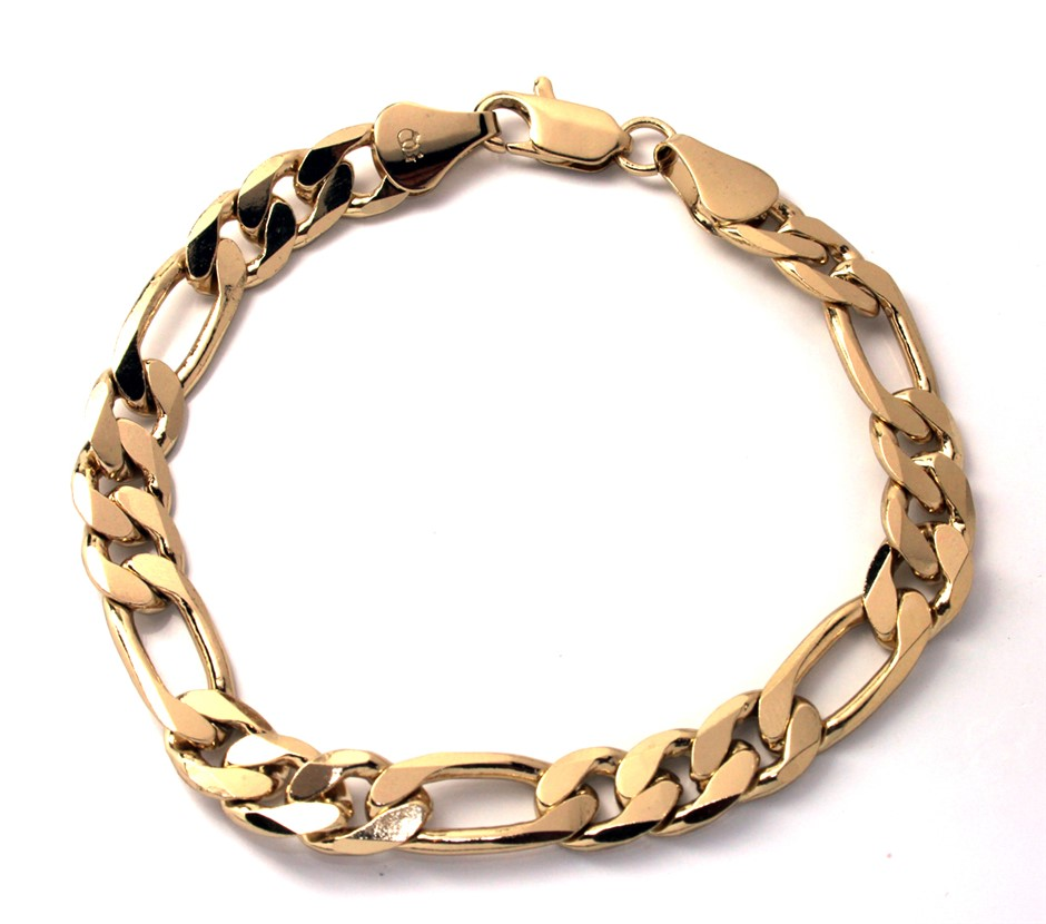 Gold plated figaro bracelet
