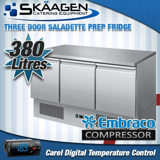 Unused Three Door Saladette Fridge - ES03-51