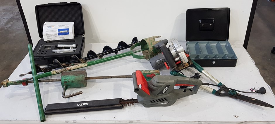 Box Of Assorted Fence/ Power Tools