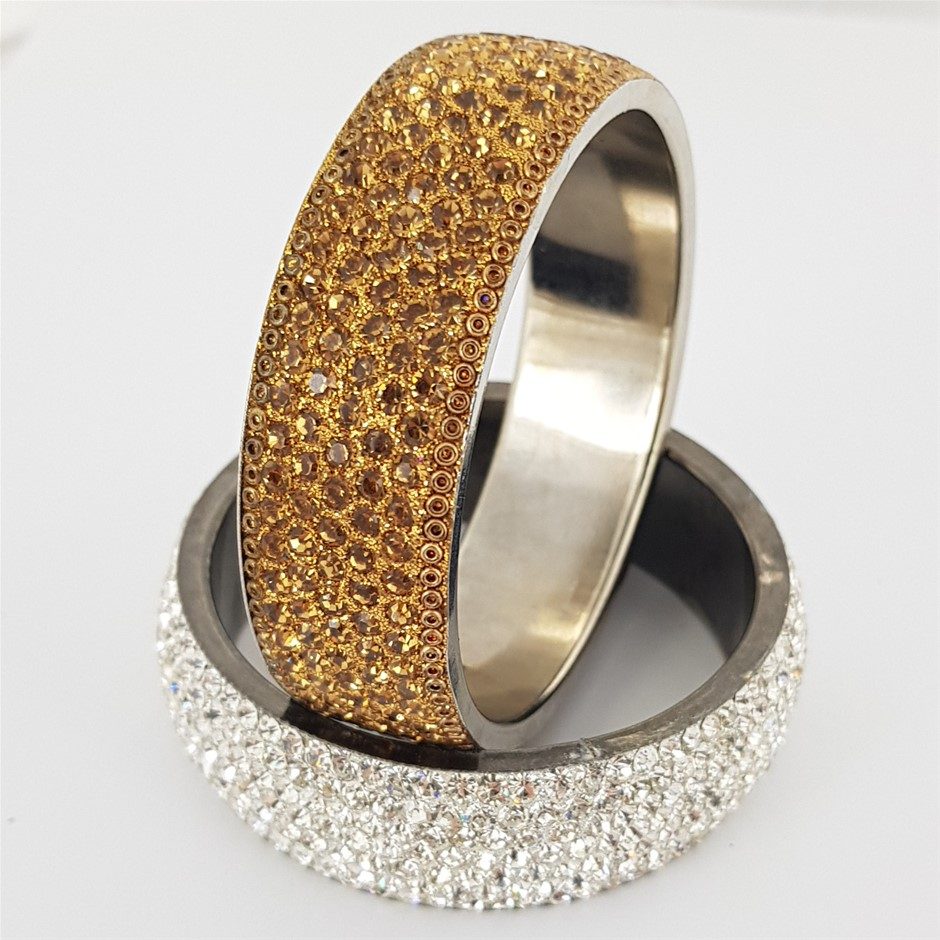 Two Crystal Bangles. White & Gold.