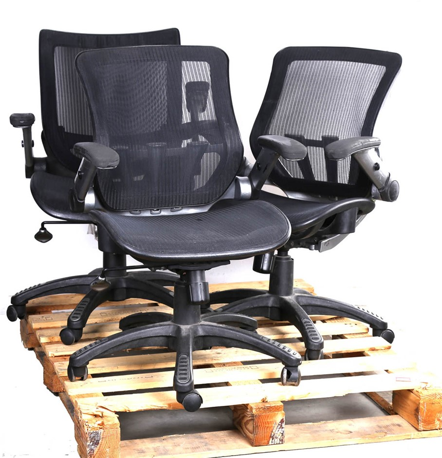 3 x Mobile Office Armchairs w/ Mesh Seat & Back Lift-Up Arms, Heavy Duty Fr
