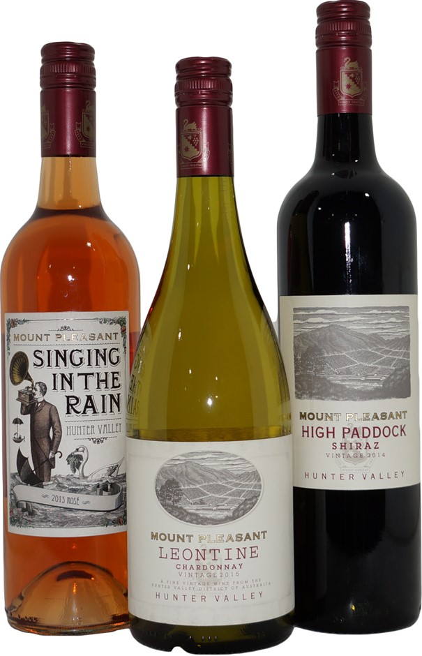 Mixed Pack of Mount Pleasant Wine (3x 750mL), Hunter Valley, Screwcap.