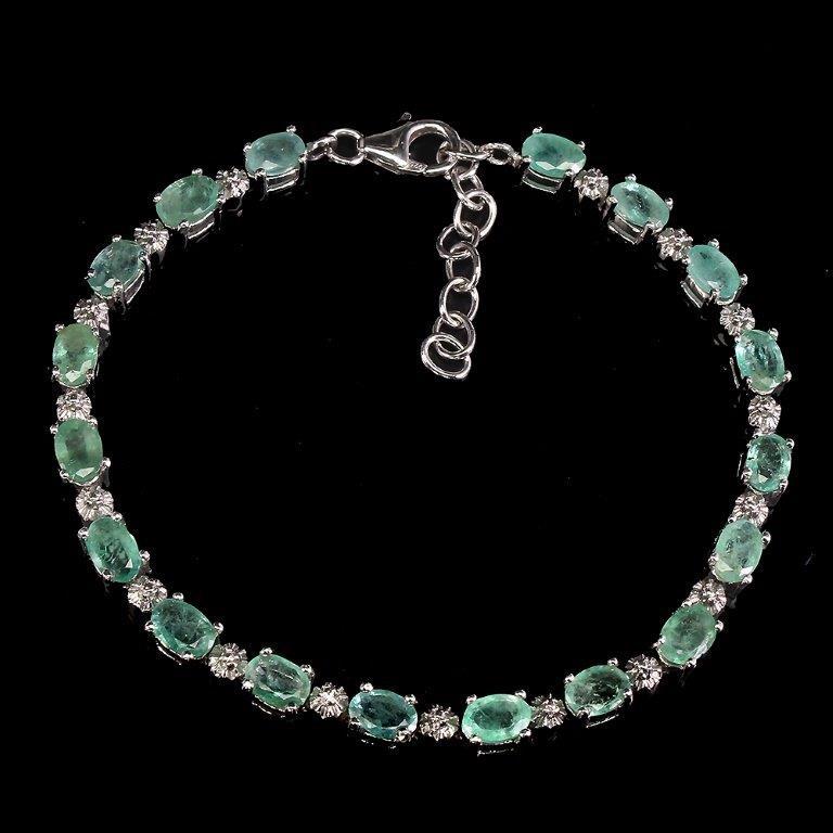 Stunning Genuine Emerald Tennis Bracelet