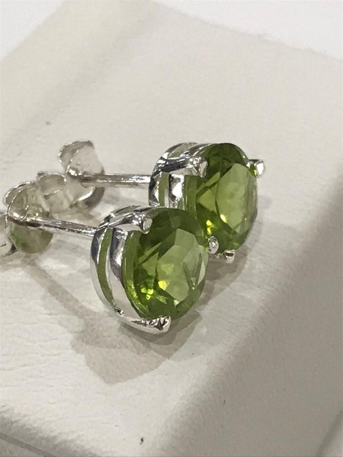 Glorious 3.50ct Peridot Stud Earrings