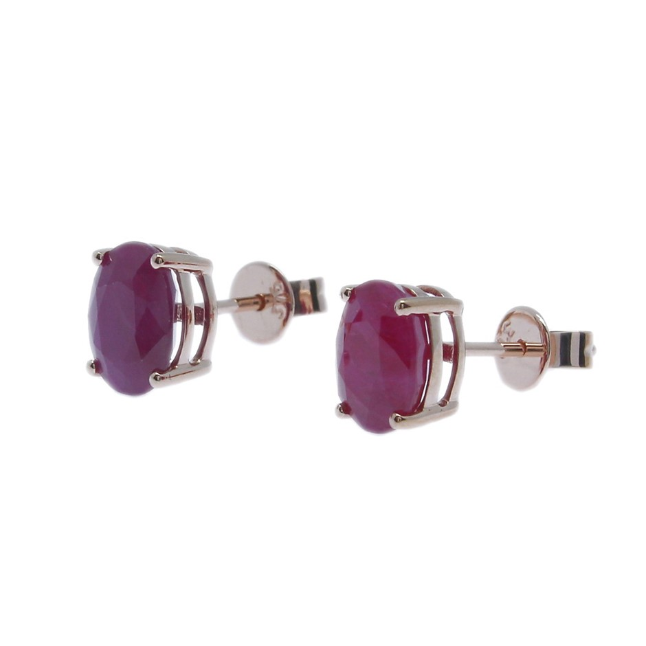 9ct Rose Gold, 2.85ct Ruby Earring