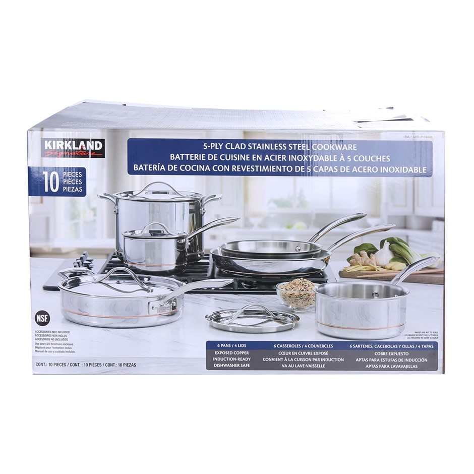 SIGNATURE 10pc 5-Ply Clad Stainless Steel Cookware Set, Comprising; Deep Sa