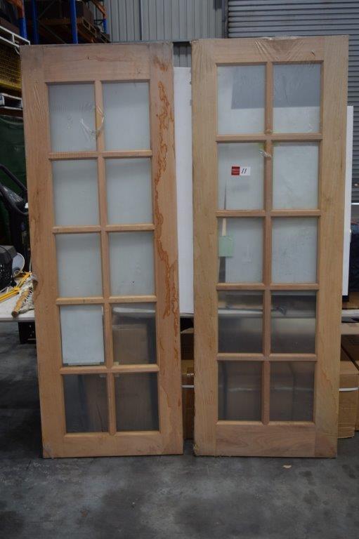 (Bid Price Per Each) Unused Solid Timber Framed 10 Light Glass Panel Doors