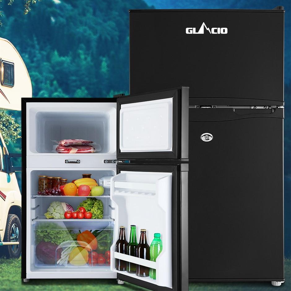 Glacio 90L Portable Fridge Bar Freezer Cooler Upright 12V/24V/240V BLK