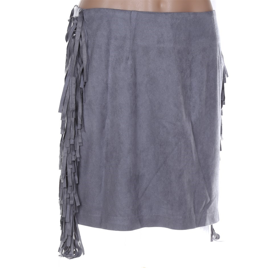 MINK PINK Suede Tassle Skirt. Size M, Colour: Grey. 100% Polyester. RP: $15