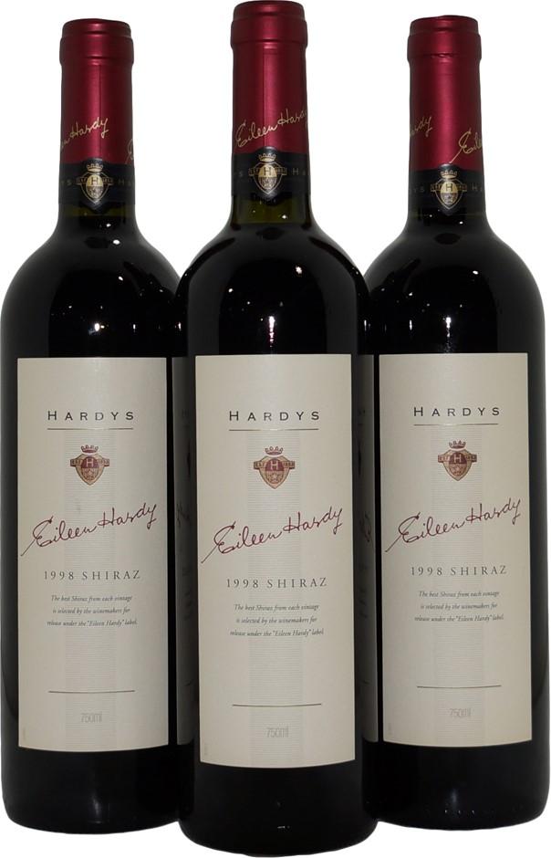 Hardys Eileen Hardy Shiraz 1998 (3x 750mL), SA. Cork.