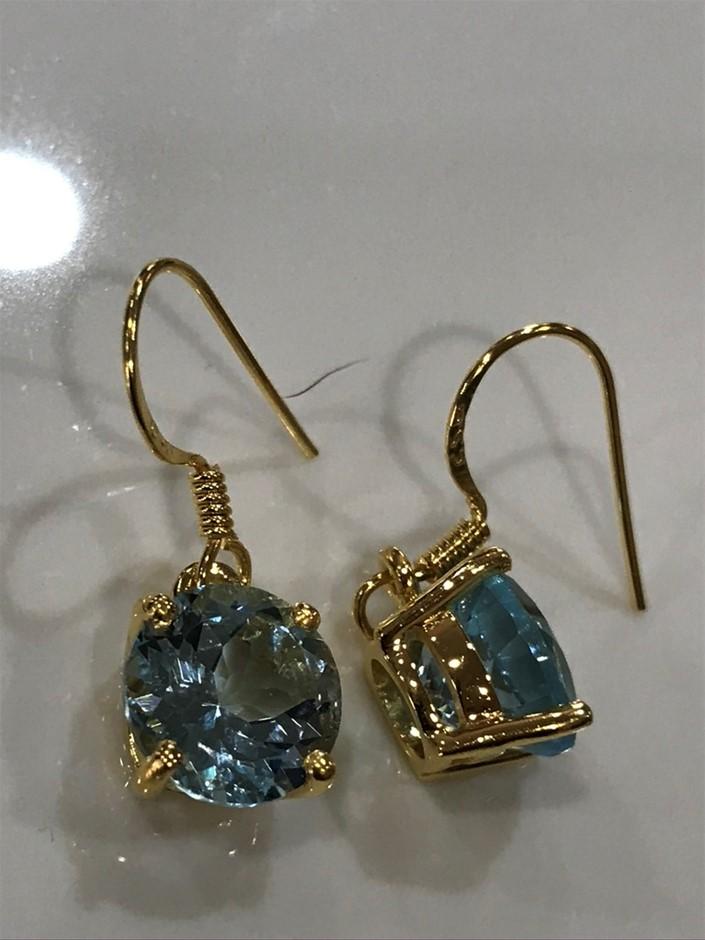 Magnificent Blue Topaz 5.50ct & 18K Gold Vermeil Earrings
