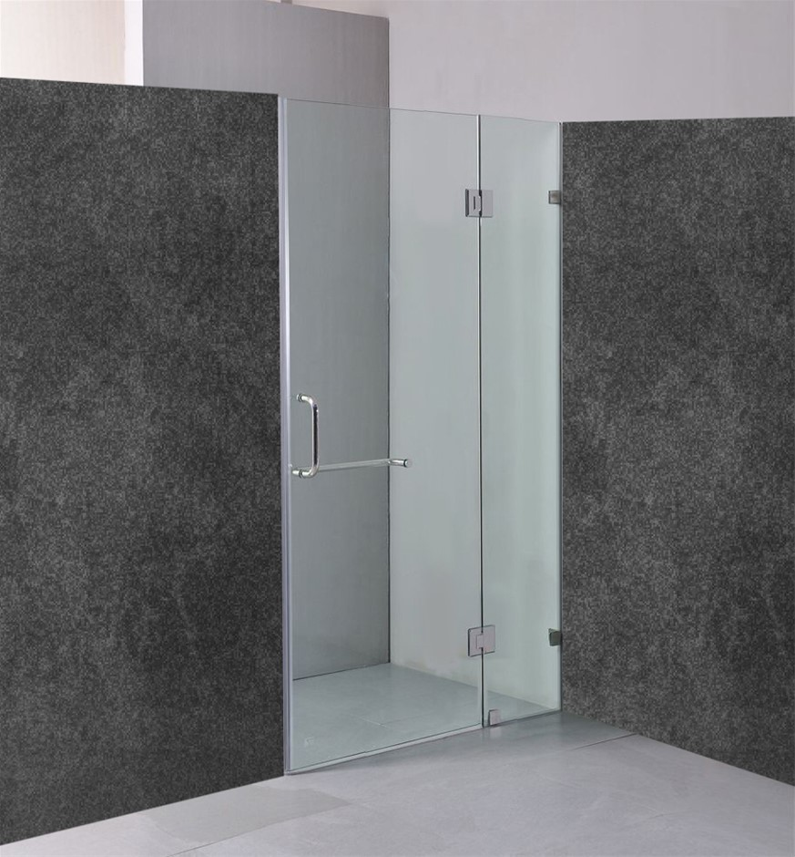 120 x 200cm Wall to Wall Frameless Shower Screen 10mm Glass Della Francesca
