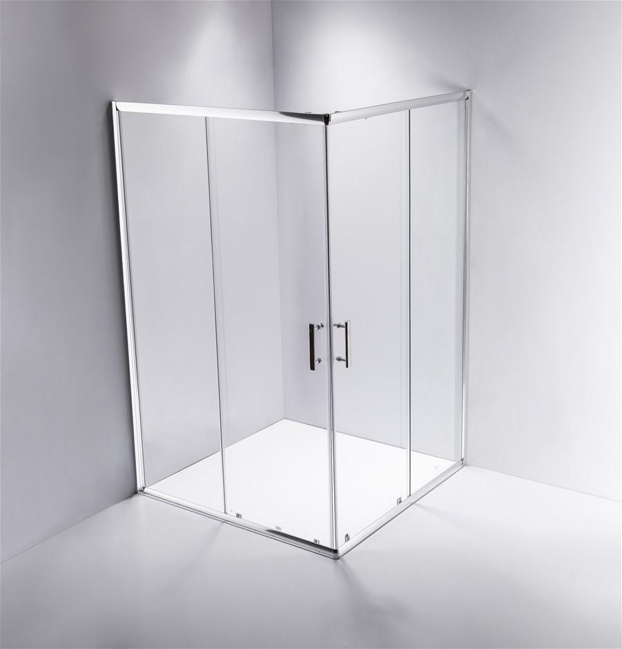 1200 x 800mm Sliding Door Nano Safety Glass Shower Screen Della Francesca