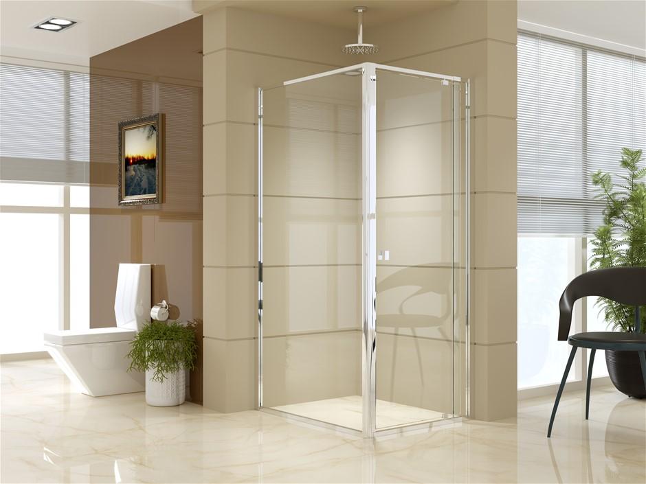 Semi Frameless Shower Screen (74~82)x 195cm & (98~101)x 195cm Side