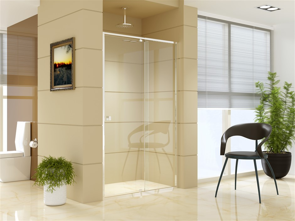 Adjustable Semi Frameless Shower Screen (114~122) x 195cm AS Glass