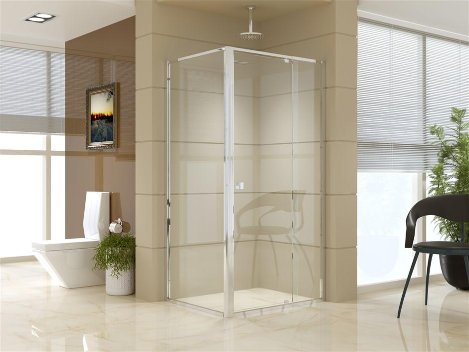 Semi Frameless Shower Screen (98~106)x 195cm & (77~80)x 195cm Side