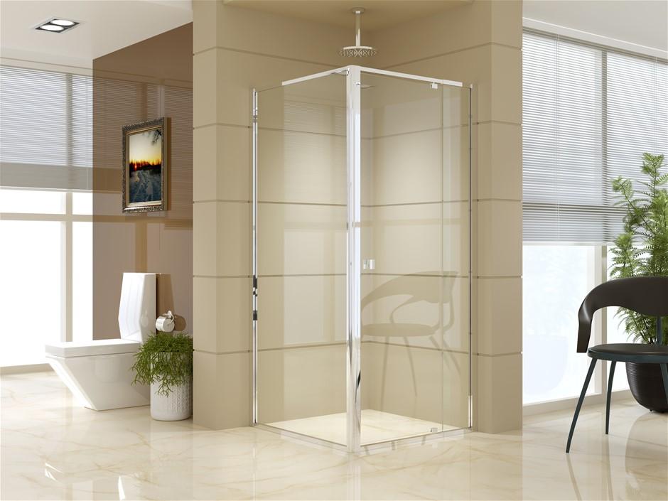 Semi Frameless Shower Screen (82~90)x 195cm & (89~92)x 195cm Side