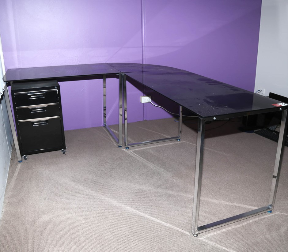 Smoked Glass Top Desk w/ Left Hand Return